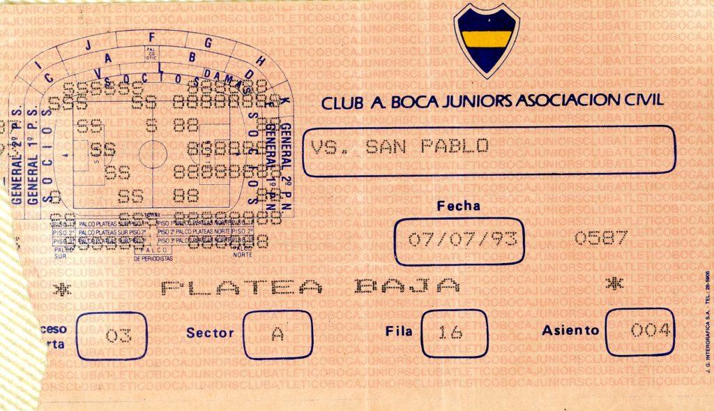 Entrades La Bombonera Boca Sao Paulo jul 1993