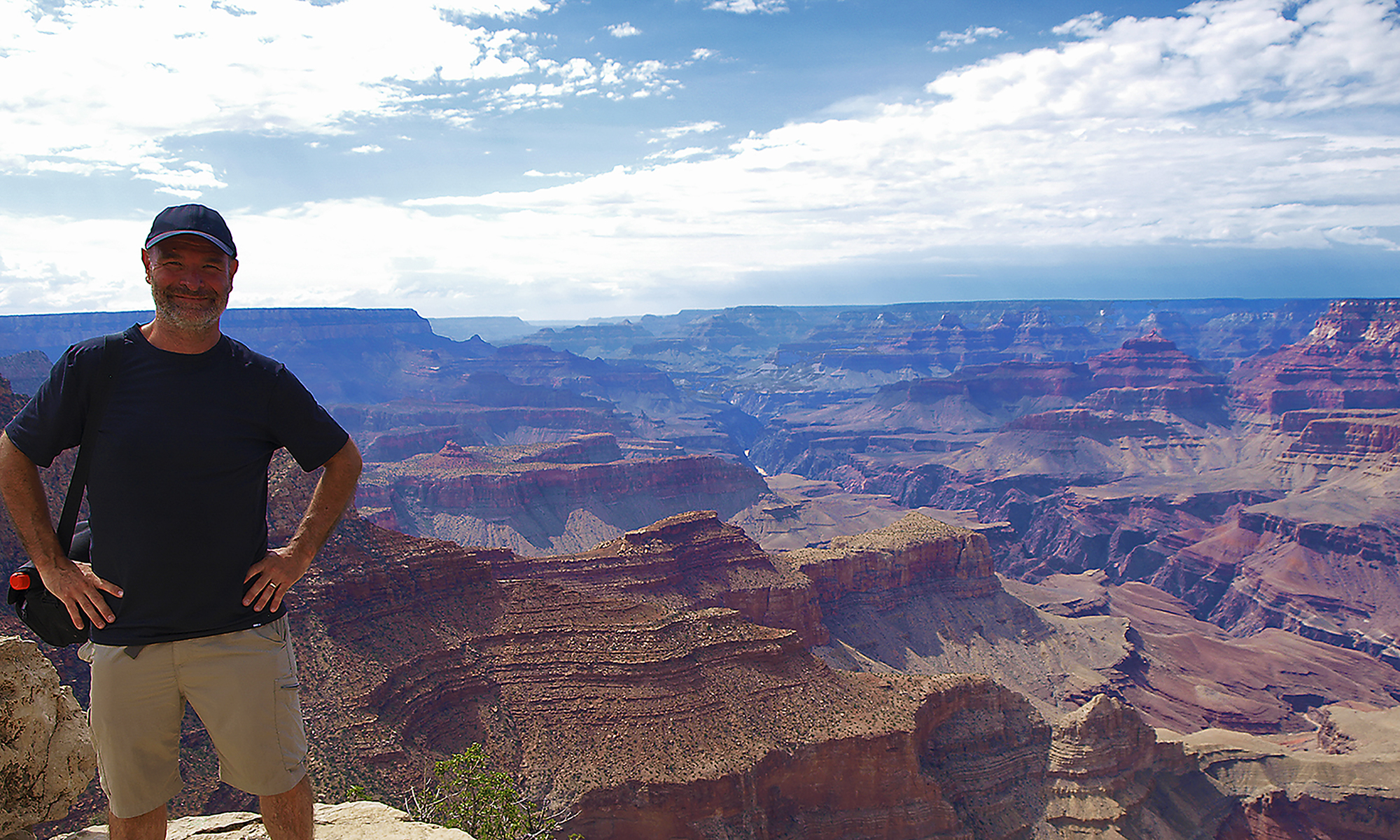 Joan i panoràmica del Grand Canyon des de Moran Point / Joan and view over the Grand Canyon from Moran Point